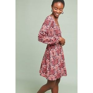 Anthropologie PAISLEY BELTED DRESS new
